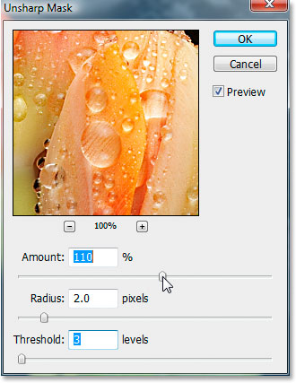 Unsharp Mask dialog box inside Photoshop CS3