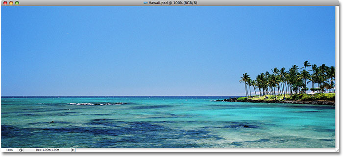 Photoshop Image In Text: An ocean view from Hawaii.