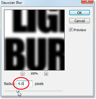 Photoshop Text Effects: Photoshop's Gaussian Blur filter dialog box