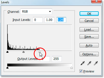 Photoshop Text Effects: Photoshop's Levels dialog box