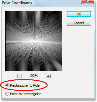 Photoshop Text Effects: Apply the Polar Coordinates filter again