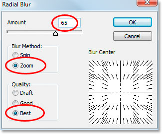 Photoshop Text Effects: Photoshop's Radial Blur dialog box